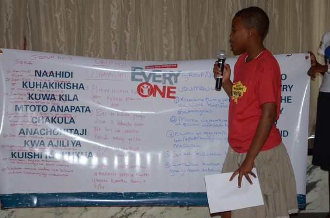 Mwajuma Babu, Young Reporter and member of the Temeke Children's Council making presentation of children's recommendations on Scaling Up Nutrition in Tanzania during the launching of Save the Children Nutrition Report in February 2012, in Dar es Salaam